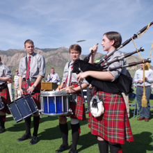 Ben Lomond Bagpipers playing at an event.